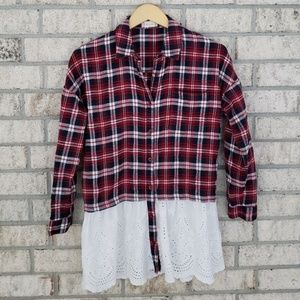 Altar'd State Plaid and Lace Button Down Shirt